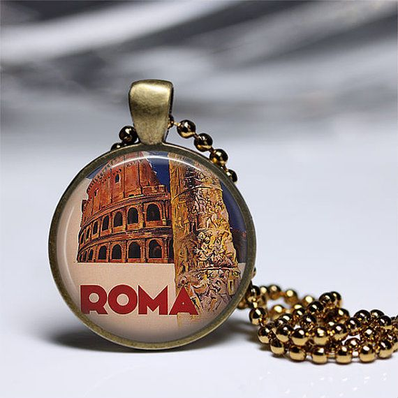 Vintage TRAVEL POSTER  ROMA Italy Pendant by MeaganEleonorParis, $18.00