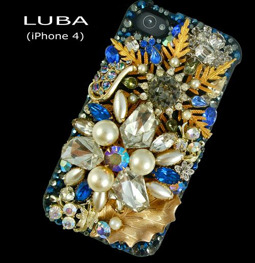 stunning one-of-a-kind handcrafted Swarovski iphone case...blues, golds, greys and pearls, $415, #mother's #day #gift idea
