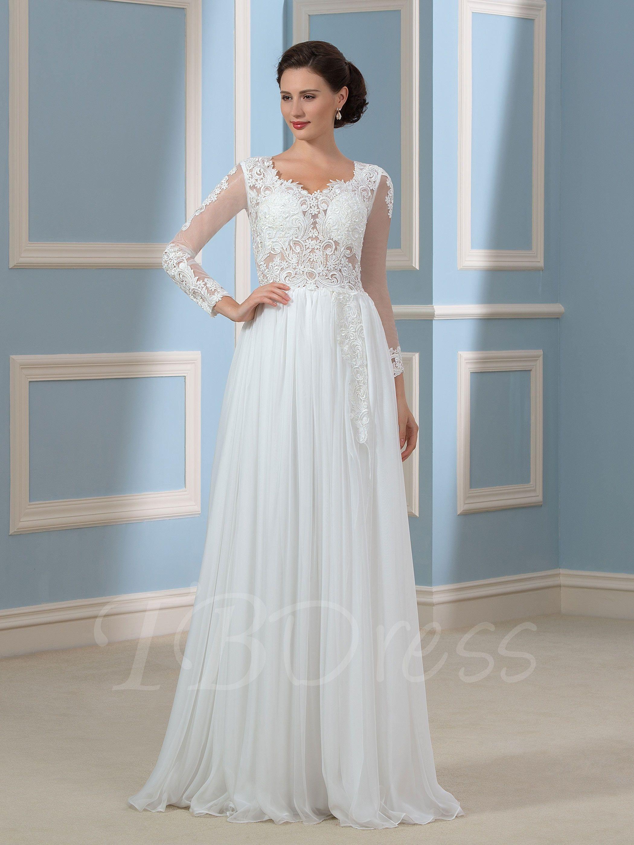 Long sleeve chiffon wedding dress  Long Sleeve SplitFront Lace Beach Wedding Dress  Lace beach