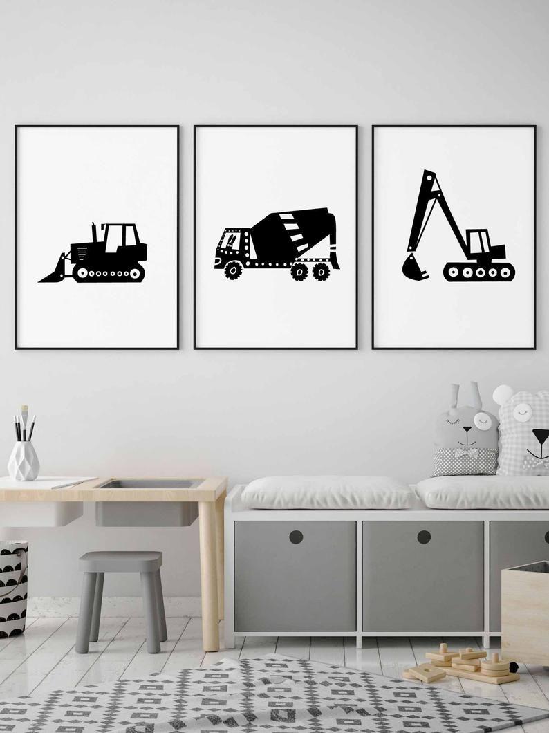 Bulldozer Print In Black And White For Boy Room Decor Etsy Boys Room Decor Boy Room Transportation Nursery