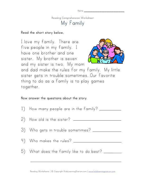 Reading Comprehension Worksheet Grade1 Pinterest Reading