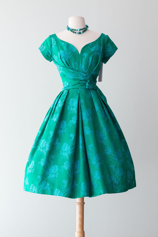 Vintage 1950S Dress  Late 50S Emerald Green & Lavender