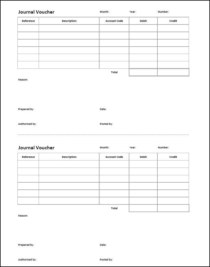 Journal Voucher Template  Double Entry Bookkeeping  Printables