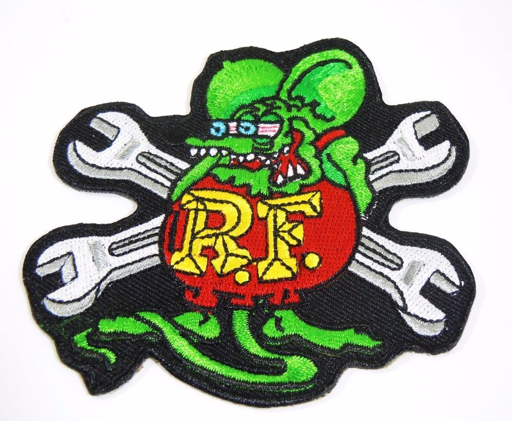 """3/"""" Iconic Embroidered Iron-On Patch RAT FINK R.F"""
