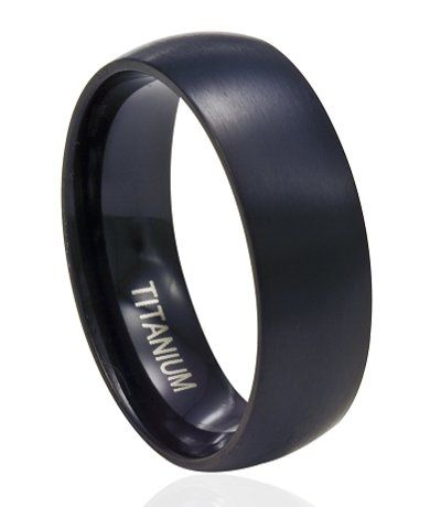 Men S Titanium Wedding Ring In Matte Finish 8mm Titanium Wedding Band Mens Mens Wedding Rings Titanium Black Titanium Wedding Bands