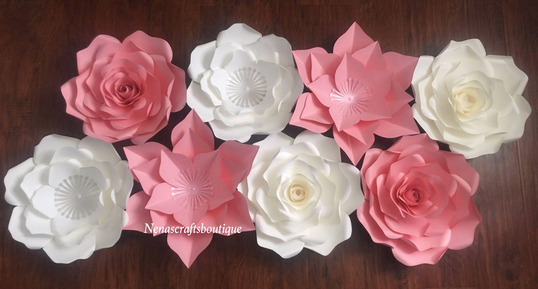 Large and medium paper flowers  paper flower backdrop  nursery