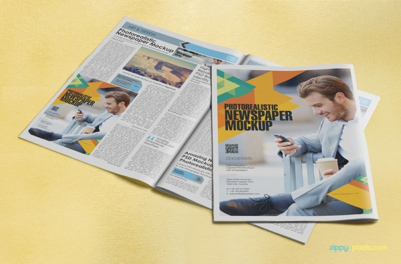 Photorealistic Newspapers  Advertising Mockups  Mockup And