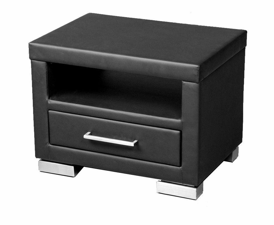 In need of something nice with a neat bed these leather - Table de chevet cuir noir ...