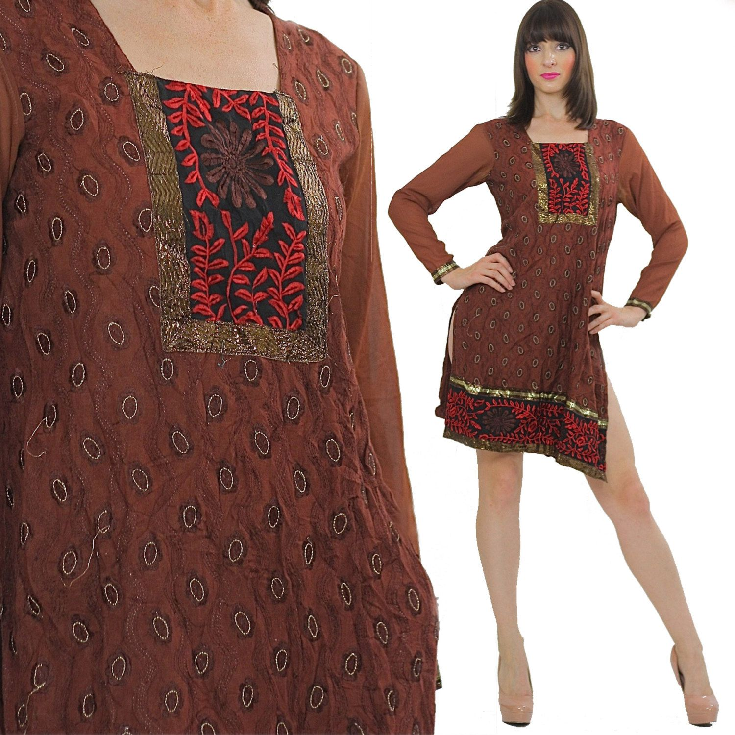Embroidered dress sheer floral metallic vintage s india ethnic