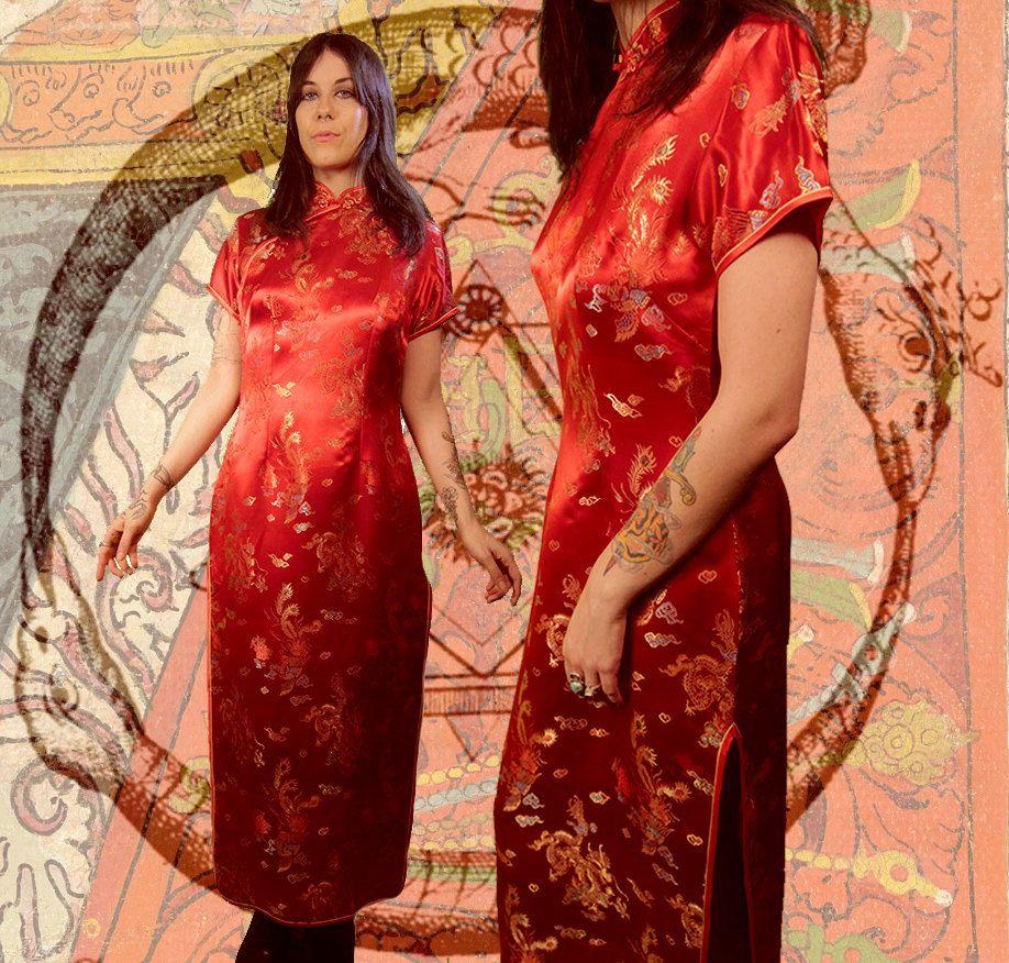 Vintage 80s 90s Dragon Lady Chinese Qipao Cheongsam Silk ...