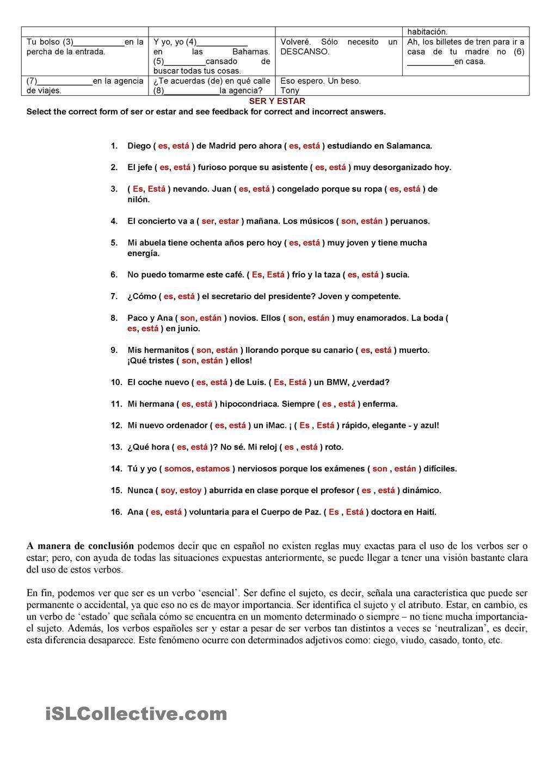 worksheet Ser Estar Worksheet verbos ser o estar espanol pinterest student centered estar