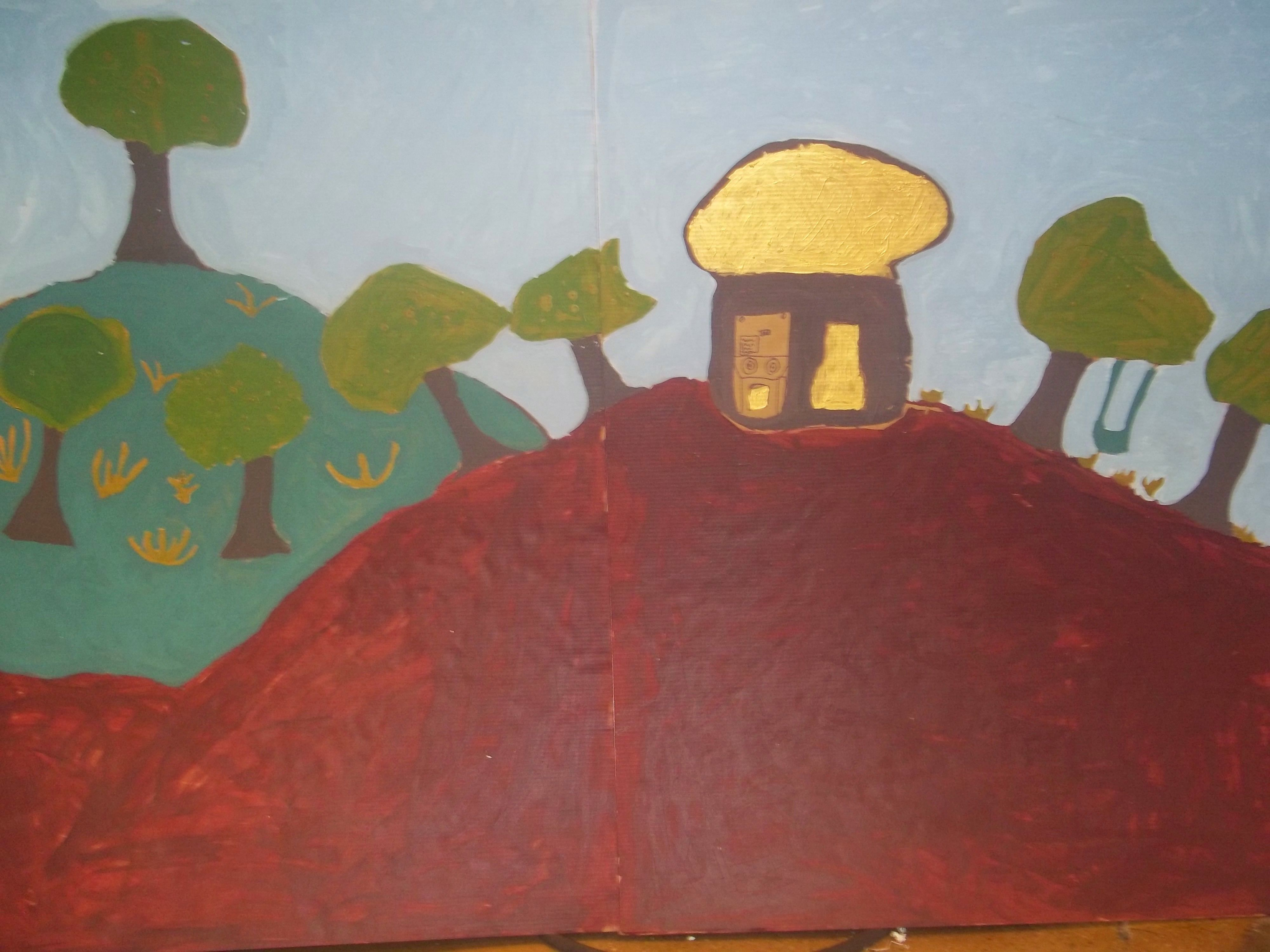 Students created backgrounds by painting on cardboard. Summer 2014.