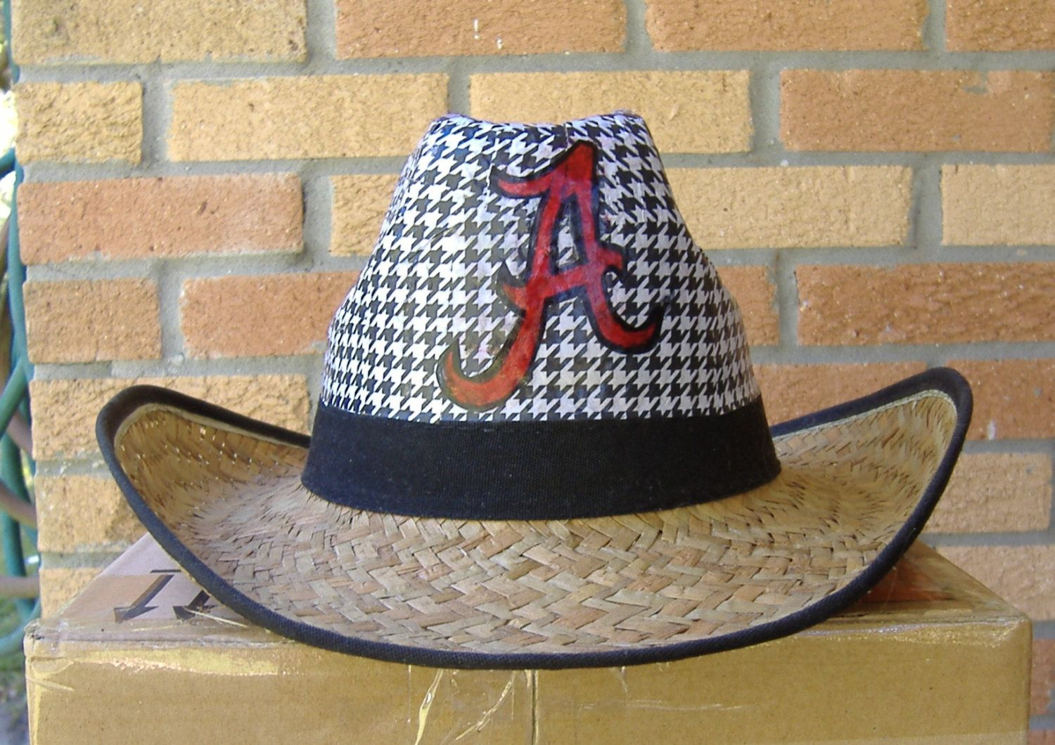 Houndstooth Alabama straw cowboy cowgirl hat - new - unisex Large - all  sales final by JerrysShoppe on Etsy a150015066a
