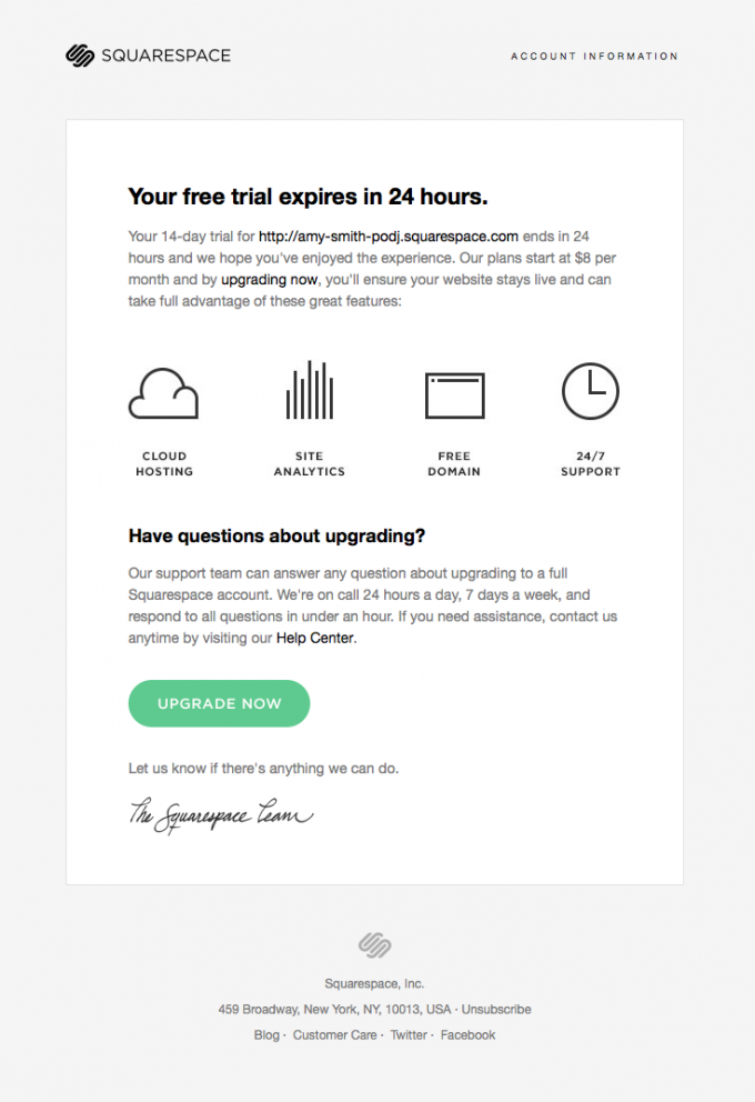 Retention Email Design From Squarespace Email Design