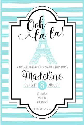 Paris Birthday Party Invitation Template  Ooh La La  Birthday