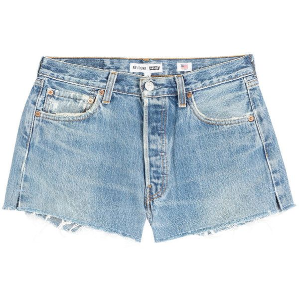 3c20017bb60 Blue denim · RE DONE Cut-Off Denim Shorts ( 195) ❤ liked on Polyvore  featuring