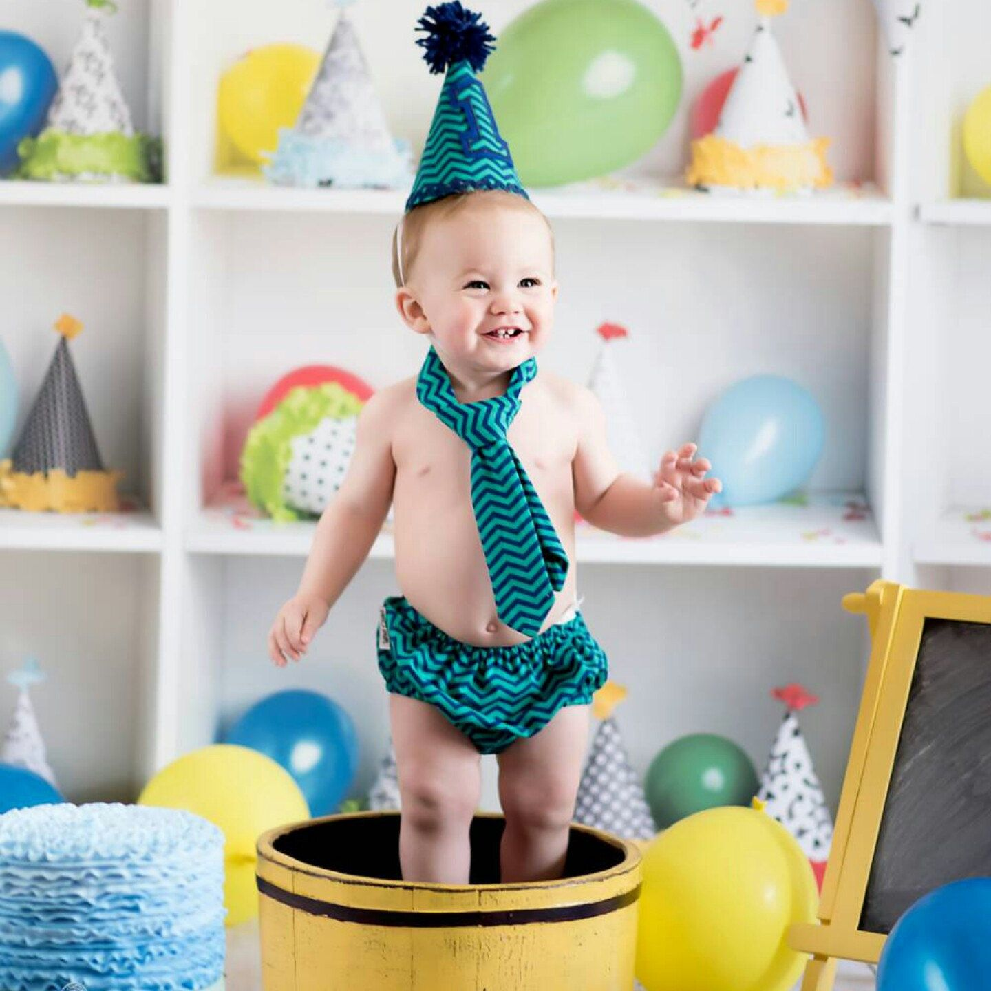 1st Birthday Cake Smash Outfit Green and Navy Blue Chevron
