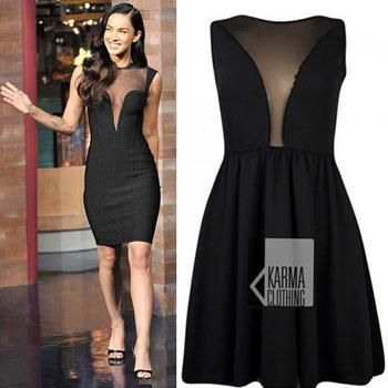 Megan Fox is rocking this Space Mesh Dress. Availablehttp://www.karmaclothing.co.uk/clothing-c1/dresses-c2/party-dresses-c3/black-mesh-insert-space-skater-dress-p11 at Karma now!