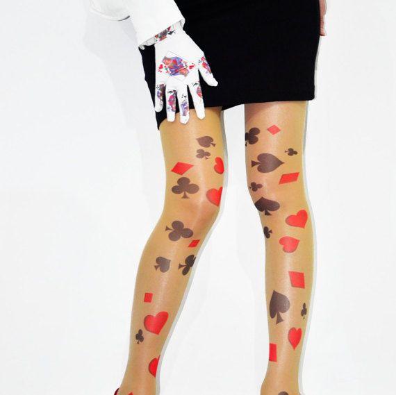 Alice In Wonderland Card Design Over The Knee Stockings