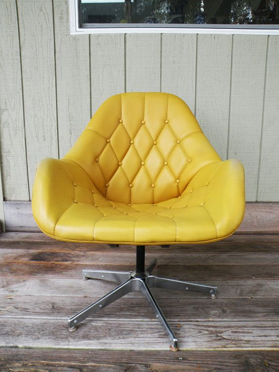 swivel chair urban dictionary office no back chrome based vinyl shell mustard by heartkeyologie