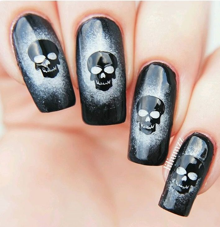 skull nail decals nail stencils fingern gel nailart. Black Bedroom Furniture Sets. Home Design Ideas