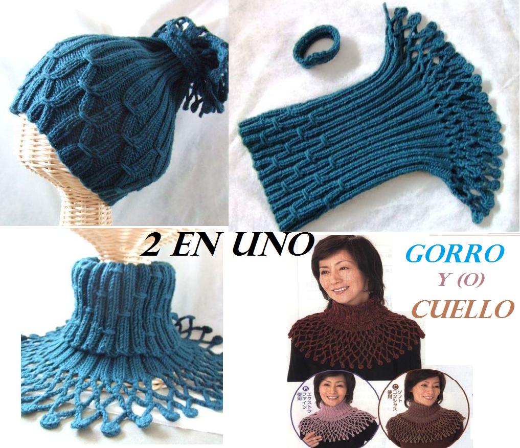 2 en 1 Gorro y Cuello Patron - Patrones Crochet | Gorros tejidos ...