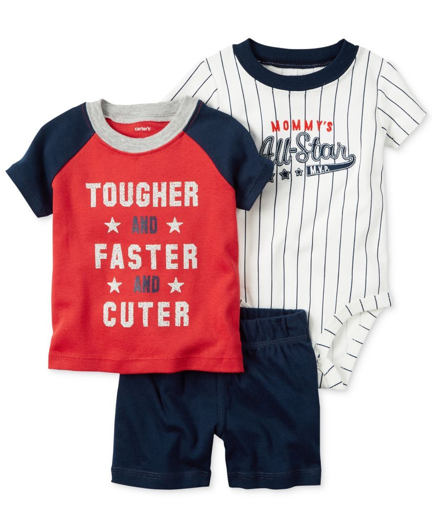 Carter s 3-Pc. T-Shirt, Mommy s All-Star Bodysuit   Shorts Set, Baby ... 9c9c362ee466