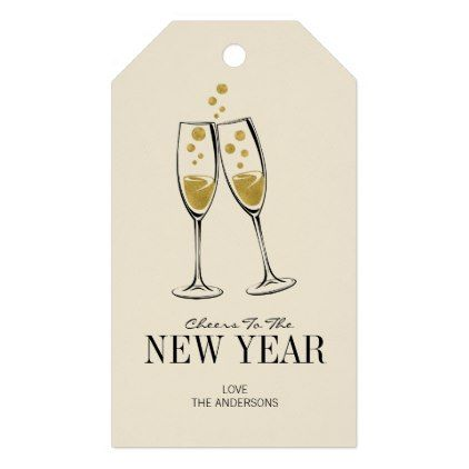 Faux Gold Foil Cheers New Year\'s Gift Tag