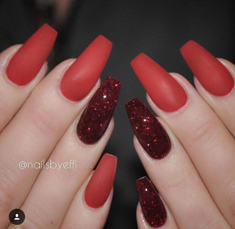 red matte and glittery ig nailsbyeffi nails pinterest