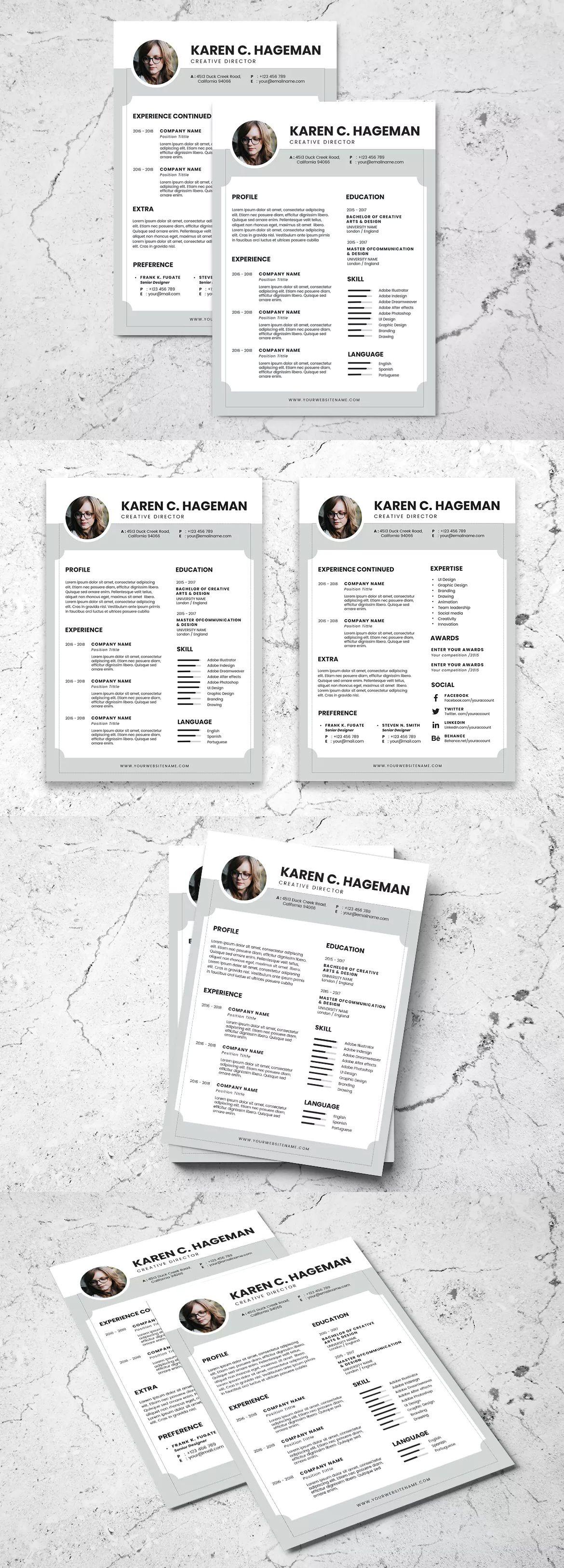 Minimalist Resume Template Psd Free Download
