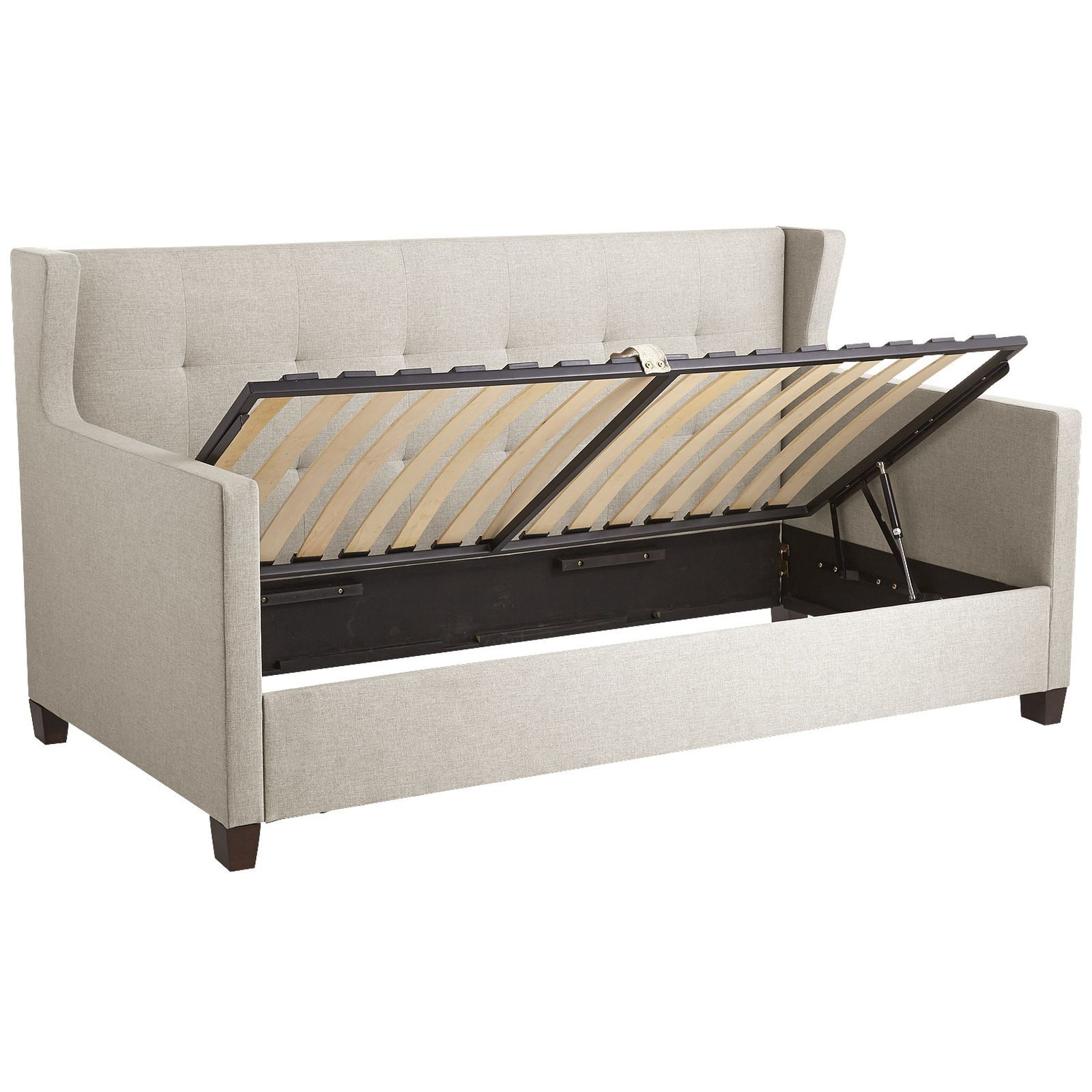 The versatile 3-in-1 Hester multitasks as a daybed, sofa and storage cubby  with the flick of a finger. Easy…   Hideaway bed, Furniture for small  spaces, Trundle bed