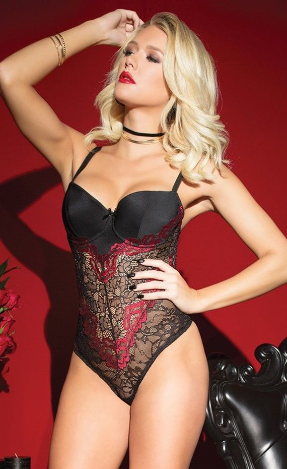 Coquette Lace Teddy With Underwire Padded Cups. Romantic rose print  scalloped stretch lace and microfiber teddy with underwire padded cups and  double strap ... f6784f076