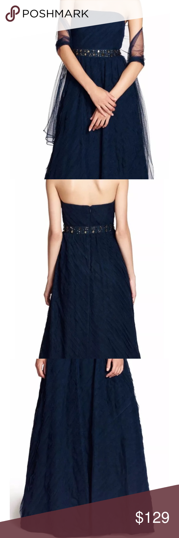 Adrianna papell navy blue jeweled waist gown nwt adrianna papell