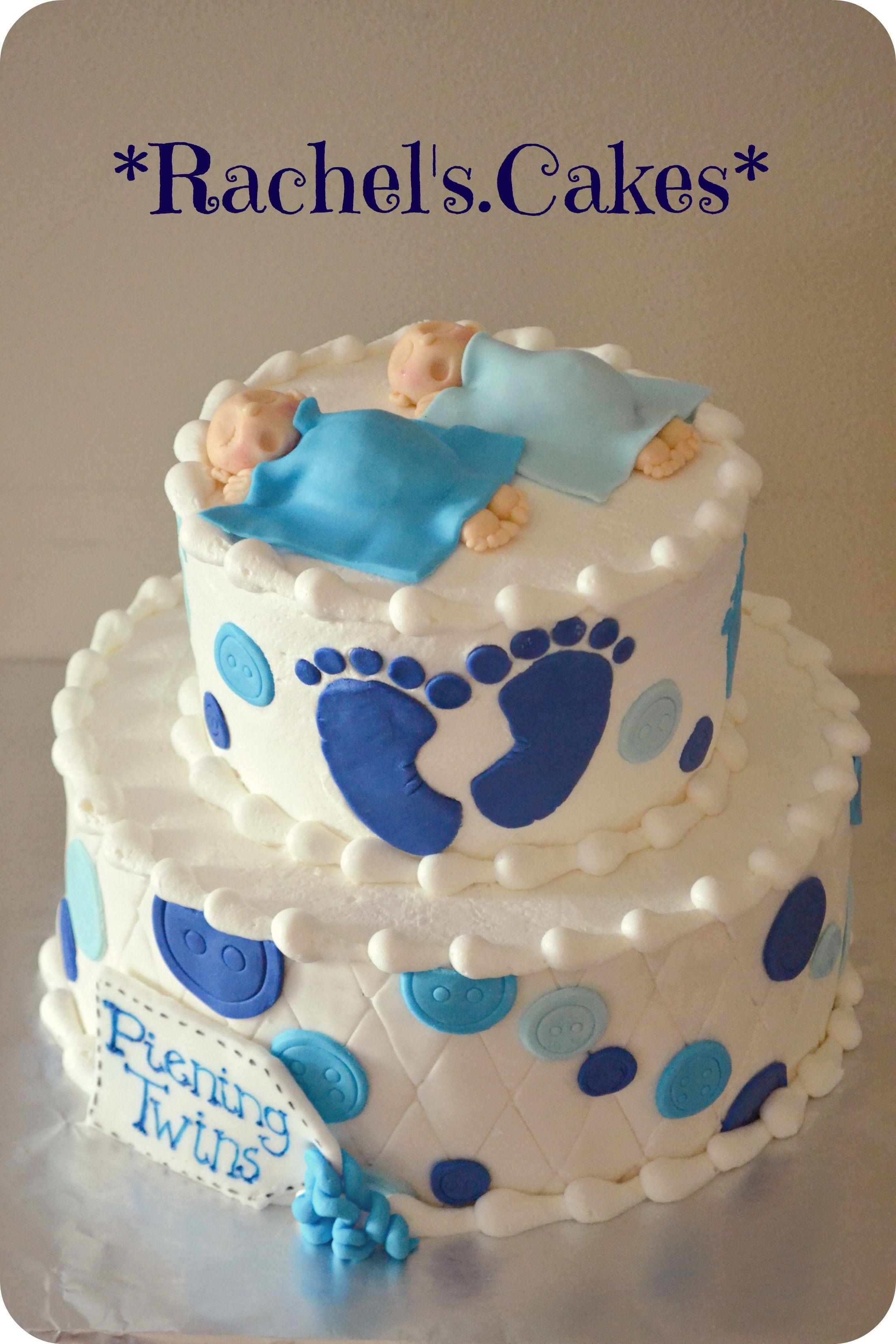 Sleeping Twins Baby Shower Cake