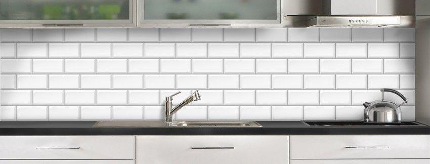Crédence De Cuisine Carrelage Métro Blanc Sur Mesure Aluminium Ou - Panneau imitation carrelage pour cuisine pour idees de deco de cuisine