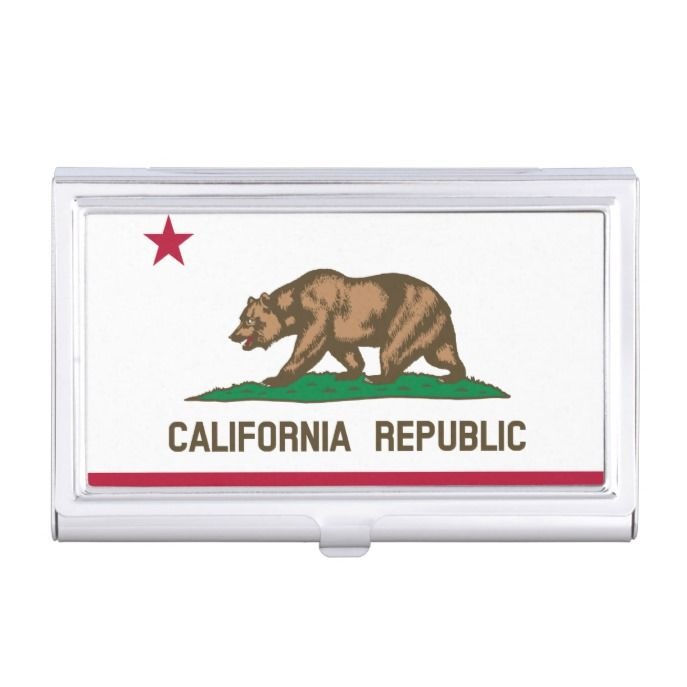 California republic state flag custom metal business card case reheart Images
