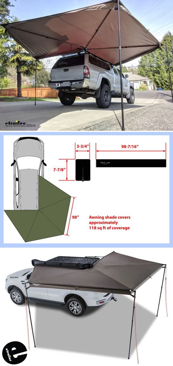 Rhino Rack Batwing Awning Roof Rack Mount Bolt On Driver S Side 118 Sq Ft Rhino Rack Car Awn Truck Bed Camping Jeep Camping Camper Awnings