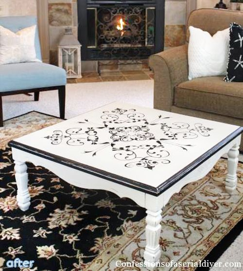 Black And White Stenciled Coffee Table Makeover | Betterafter.net