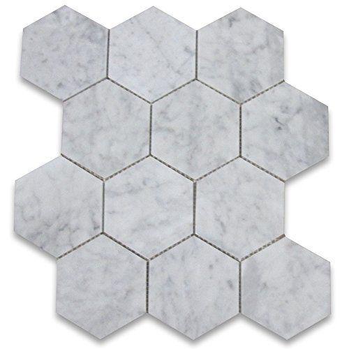 Carrara White Italian Carrera Marble Hexagon Mosaic Tile 4 Inch Polished