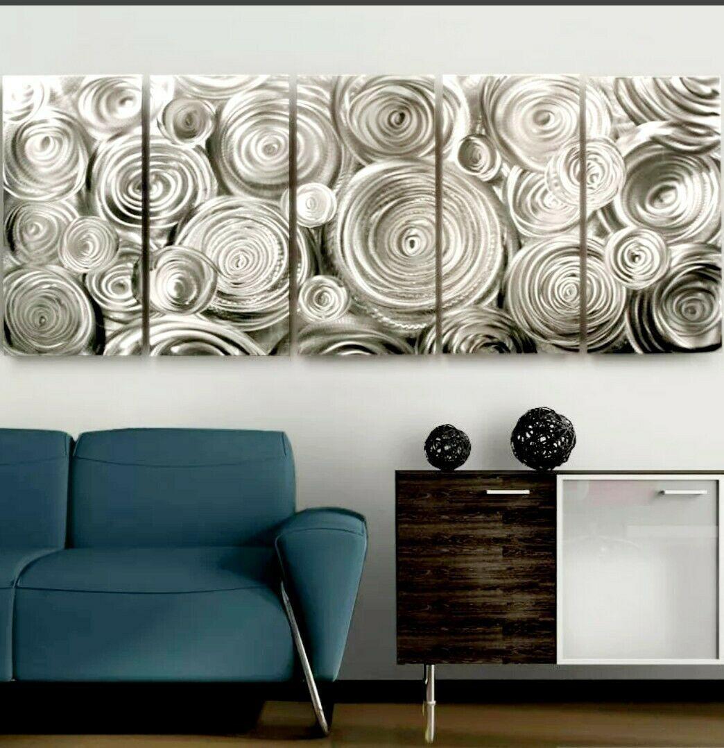 Impressive Silver Abstract Metal Wall Art Modern Easy To Hang Panels Jon Allen Mod Metal Wall Art Decor Abstract Metal Wall Art Contemporary Metal Wall Art