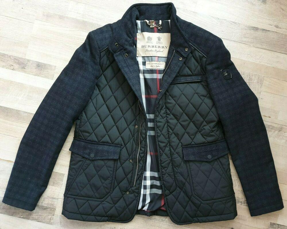 New Burberry Men S Sandringham Wool Cashmere Black Diamond Quilted Jacket Coat Fashion Clothing Shoes Accessor Coats Jackets Quilted Jacket Cashmere Jacket