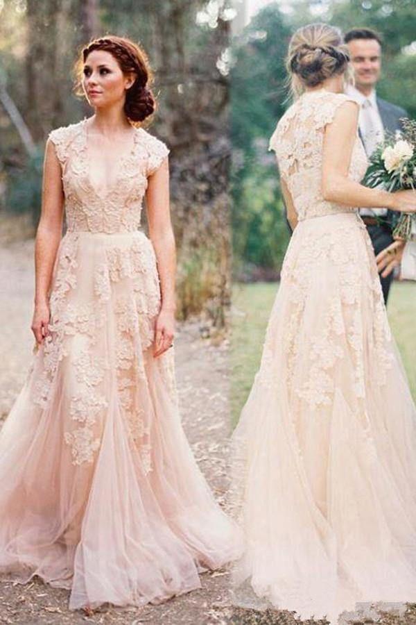 Hochwertiges ärmelloses bodenlanges Brautkleid mit V-Ausschnitt und Spitze WD015 – Sondergröße / wie abgebildet