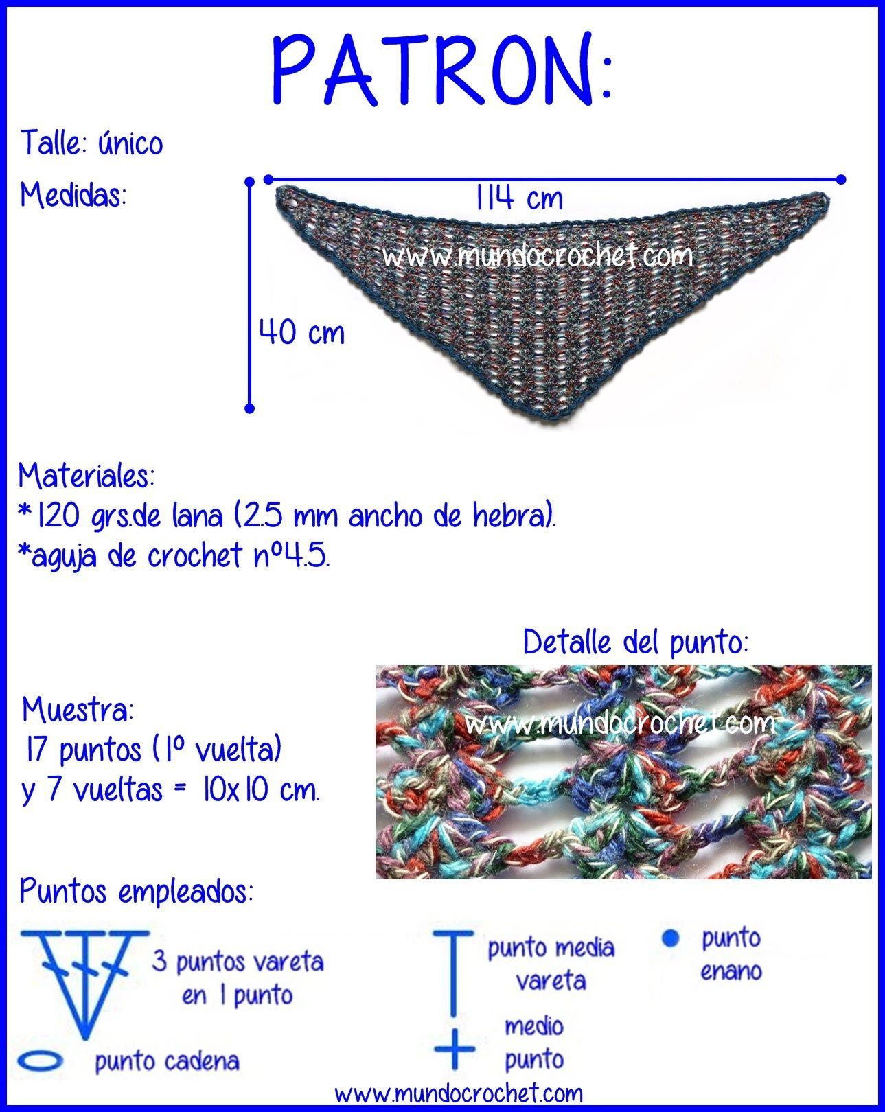 Baktus o chal a crochet o ganchillo02 | Haakpatronen. | Pinterest ...