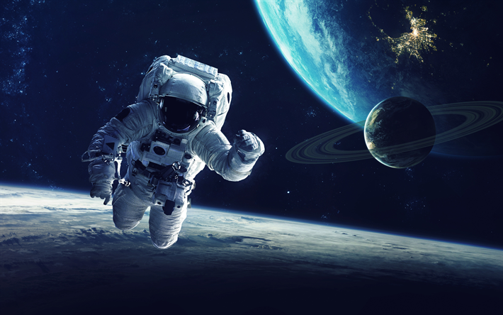 Download Wallpapers Astronaut 4k Earth Space Galaxy Satellites Besthqwallpapers Com Space Travel Cosmic Art Astronaut