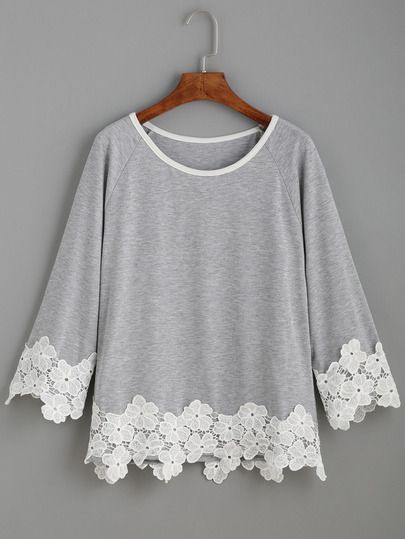 Raglan Sleeve Contrast Applique T-shirt #blusas