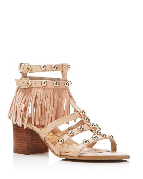 eb3767944 Sam Edelman Shaelynn Studded Fringe Mid Heel Sandals