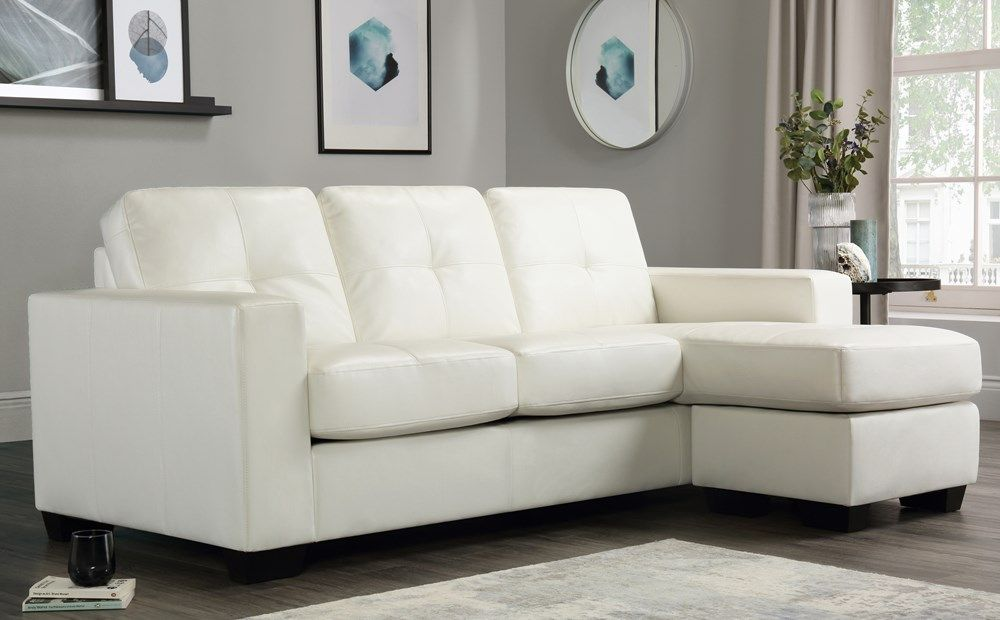 Rio Ivory Leather L Shape Corner Sofa Leather Corner Sofa