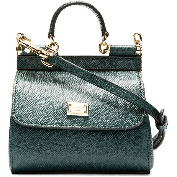 b9ad707ac6 Dolce And Gabbana Green Pebbled Leather Mini Miss Sicily Bag ( 635) ❤ liked  on Polyvore featuring bags