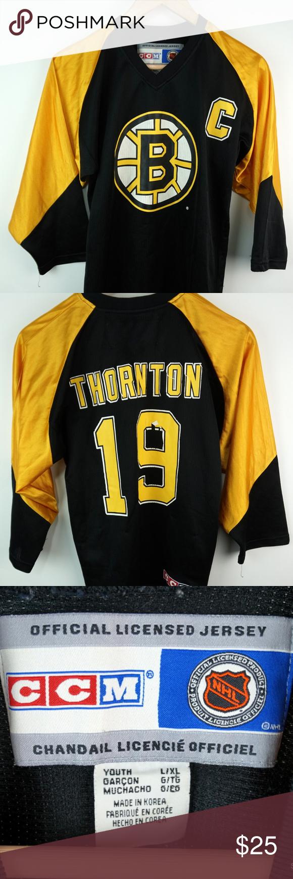 0bc185d8de8 VTG Joe Thornton Boston Bruins CCM Hockey Jersey VTG Joe Thornton Boston  Bruins CCM NHL Hockey