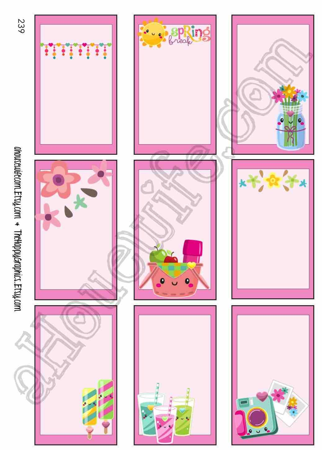 Spring picnic happy planner stickers full box a pdf
